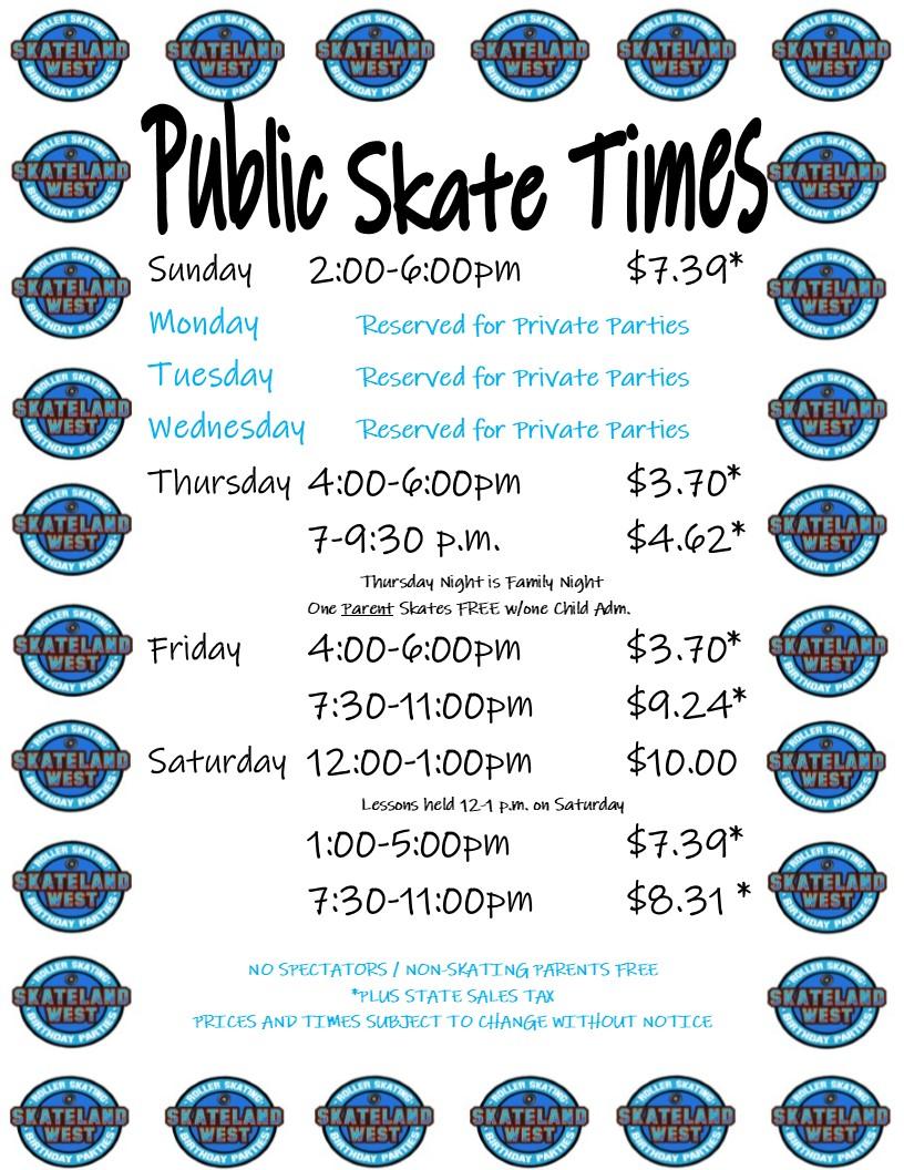 Public Skate Hours 2019