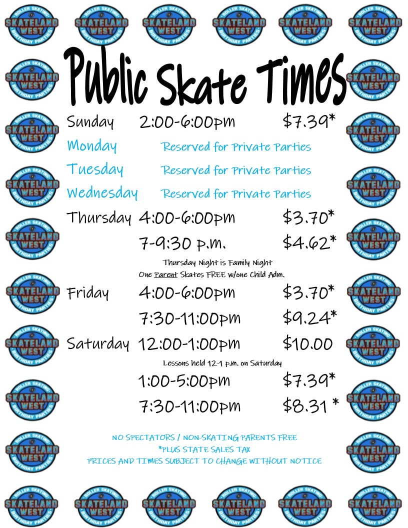 2019 Public Skate Hours and Price List