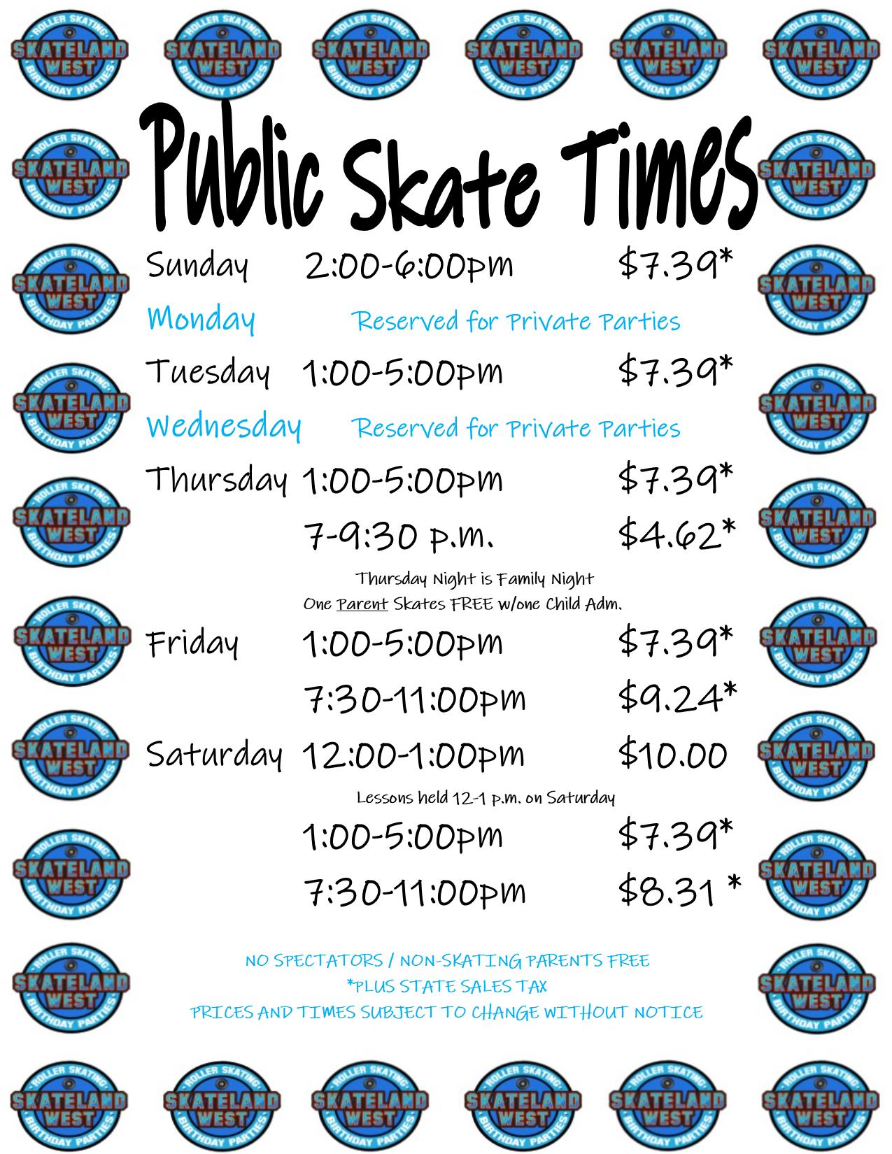 Skate Hours Summer 2019