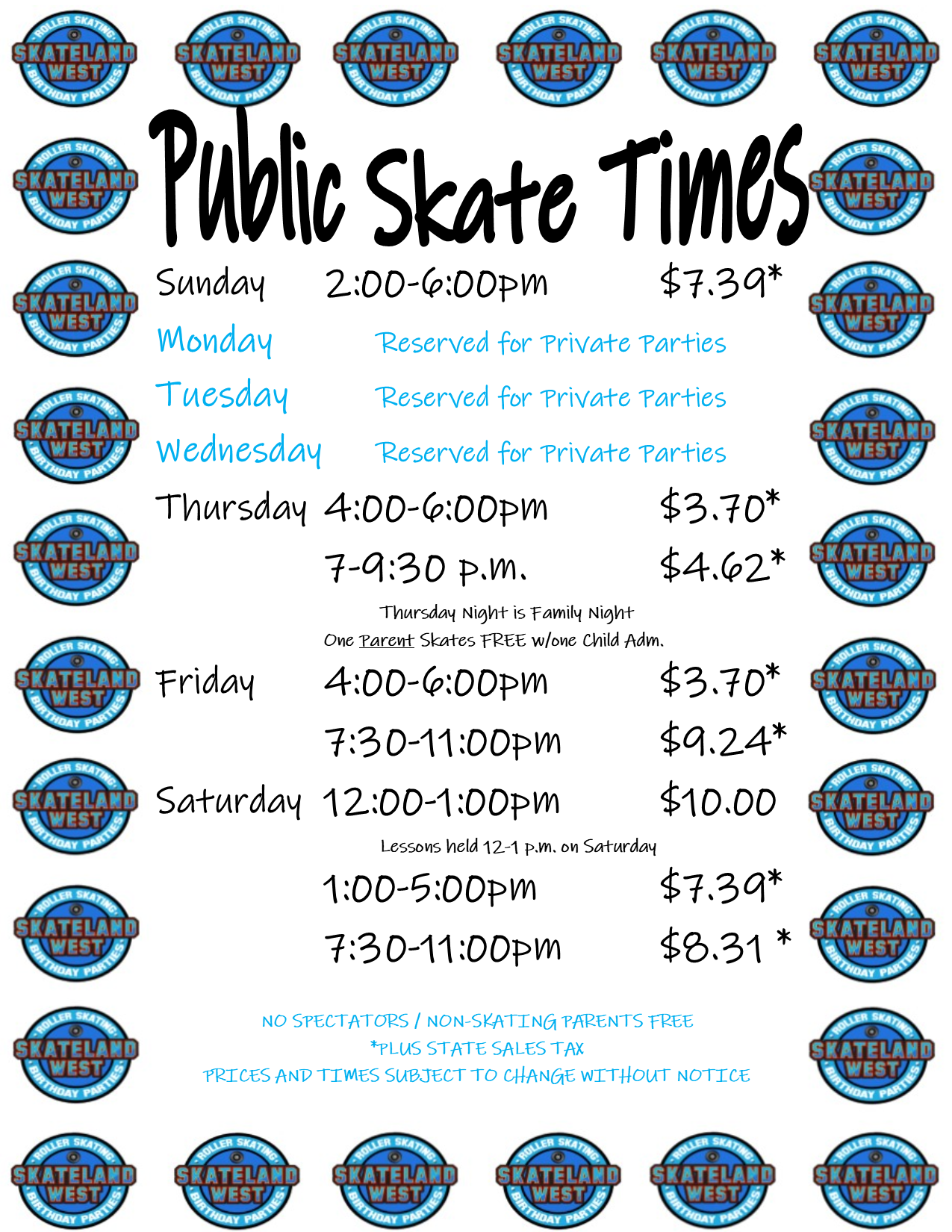 SkatelandWest Public Skate Hours FALL 2019